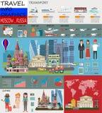 Lopp Infographic Infographic turist- sikt för Moskva av Kina; välkomnande till Moskva Infographic Ryssland Lopp till Moskvapresen vektor illustrationer