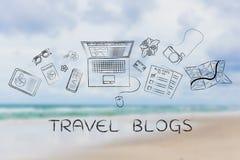 Lopp- & livsstilbloggerskrivbord med bärbara datorn, loppbloggar royaltyfri bild