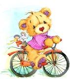 Lopp och cykel för nallebjörn för flygillustration för näbb dekorativ bild dess paper stycksvalavattenfärg stock illustrationer