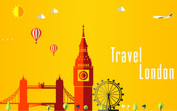 Lopp- och flygbakgrund för turisten, ferier och semestern, london loppbakgrund Royaltyfri Fotografi