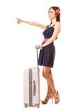 Lopp och semester Kvinna med resväskabagagepåsen Fotografering för Bildbyråer