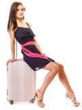 Lopp och semester Kvinna med resväskabagagepåsen Arkivfoto