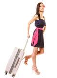 Lopp och semester Kvinna med resväskabagagepåsen Royaltyfria Foton