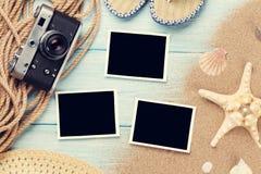 Lopp- och semesterfotoramar och objekt royaltyfri foto