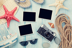 Lopp- och semesterfotoramar och objekt arkivfoton