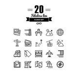 Lopp- och semesterlinje symbolsuppsättning royaltyfri illustrationer