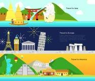 Lopp och turism till den huvudsakliga kontinenten av Asien, Europa och f.m. vektor illustrationer