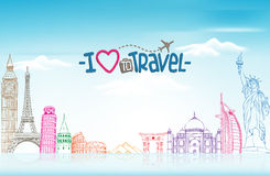 Lopp- och turismbakgrund med berömda världsgränsmärken royaltyfri illustrationer