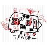 Lopp- och turismbegrepp Gulliga teckningar för barn` s av ungar på anteckningsboksidan Arkivfoto
