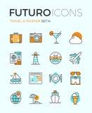 Lopp- och turismfuturolinje symboler stock illustrationer