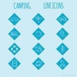 Lopp- och turismlinje symbolsuppsättning Campa royaltyfri illustrationer