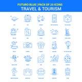 Lopp- och turismsymboler - packe Futuro blå för 25 symbol vektor illustrationer