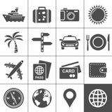 Lopp- och turismsymbolsset. Simplus serie Royaltyfri Fotografi