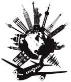 Lopp runt om världen förbi flygplanvektorillustrationen royaltyfri illustrationer