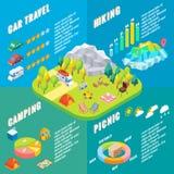 Lopp som är infographic i isometrisk stil för vektor Campa utomhus- aktivitet Plan isometrisk design 3d Familjsemester och Royaltyfri Illustrationer