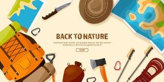 Lopp som fotvandrar bakgrund Bergklättring Internationell turism, tur till naturen, runt om världen resa Sommar stock illustrationer