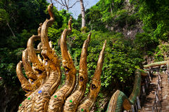 Lopp Tailandia Stege för drakar för Trià ¡ ngulo Guld--hövdad Arkivfoton