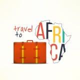 Lopp till afticabegreppet Afrikansk handelsresandebakgrund Afrika översikt med den resande resväskan royaltyfri illustrationer