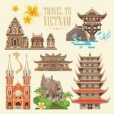 Lopp till den Vietnam uppsättningen på ljus bakgrund vektor illustrationer