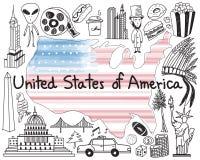 Lopp till det eniga tillståndet av symbolen för Amerika klotterteckning stock illustrationer