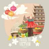 Lopp till det Vietnam kortet med asiatiska ljus royaltyfri illustrationer