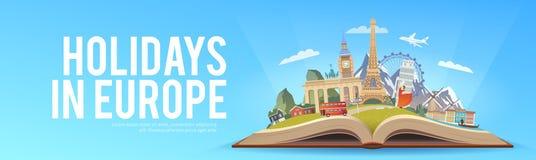 Lopp till Europa royaltyfri illustrationer