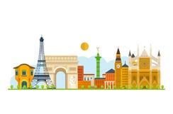 Lopp till Europa Franska- och England gränsmärken Arkivbild