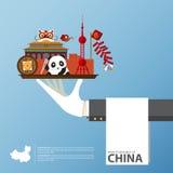 Lopp till infographic Kina Uppsättning av plana symboler av kinesisk arkitektur, mat, traditionella symboler Royaltyfri Fotografi
