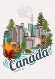 Lopp till Kanada Kanadensisk vektorillustration tappning för stil för illustrationlilja röd Loppvykort royaltyfri illustrationer
