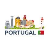 Lopp till Portugal horisont Plan illustration för vektor Arkivbild