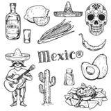 Lopp till symboler för vektor för attraktion för hand för kokkonst för drink för Mexico matkultur royaltyfri illustrationer