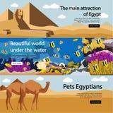 Lopp till uppsättningen för Egypten banervektor Turist vektor illustrationer