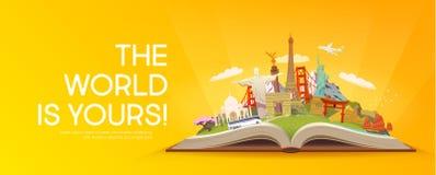 Lopp till världen Öppna boken med gränsmärken Royaltyfri Bild