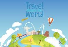 Lopp till världen Blå himmel och bil Turism För dubai för gränsmärkeBrasilien vit hus ballon luft royaltyfri illustrationer