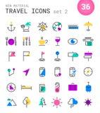 Lopp-, turism- och vädersymboler, uppsättning 2 Fotografering för Bildbyråer