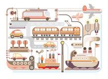 Lopp turism, transport - vektorillustration Fotografering för Bildbyråer