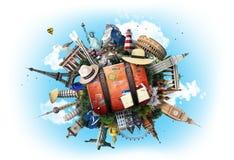 Lopp världsgränsmärken arkivbild