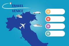 Lopp Venedig i Italien mallvektor stock illustrationer