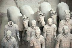 lopp xian för terrakotta för soldater för arméporslinhästar royaltyfri bild