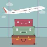 Loppbagage i flygplatsen vektor illustrationer