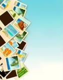Loppbakgrund med foto från ferier på en sjösida Fotografering för Bildbyråer