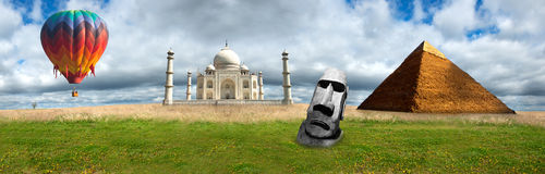 Loppbanerpanorama panorama- Taj Mahal, pyramider arkivbilder