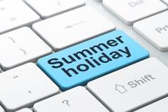 Loppbegrepp: Sommarferie på bakgrund för datortangentbord royaltyfri illustrationer