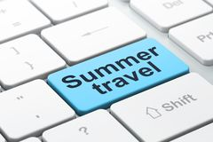 Loppbegrepp: Sommarlopp på bakgrund för datortangentbord royaltyfri illustrationer