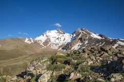 Loppbegreppsfoto; Turkiet Kayseri Erciyes berg arkivfoton