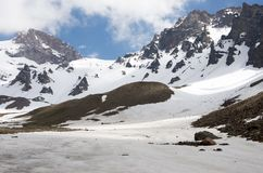 Loppbegreppsfoto; Turkiet Kayseri Erciyes berg arkivbilder