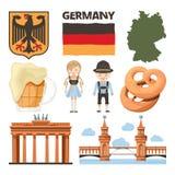 Loppbilder Uppsättning av traditionella och kulturella objekt av Tyskland royaltyfri illustrationer