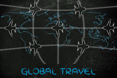 Loppbransch: flygplan och flygtrafik över världskarta Royaltyfri Fotografi