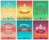 Loppbroschyr med världsgränsmärken Mall av tidskriften, affisch, bokomslag, baner, reklamblad vektor Arkivbilder