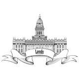 LoppEngland tecken Leeds Rathaus, UK, stora Britan Engelsk stad Arkivfoto